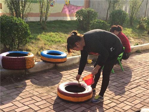 张黄镇中心幼儿园自制户外玩具——创意轮胎
